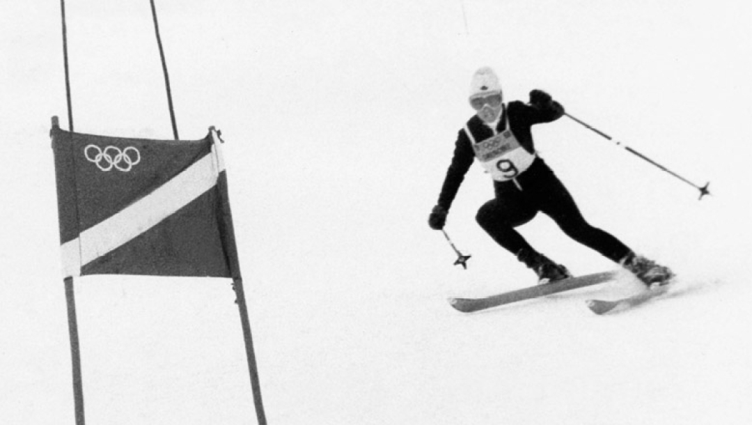 Nancy Greene wins gold in the 1968 Winter Olympics