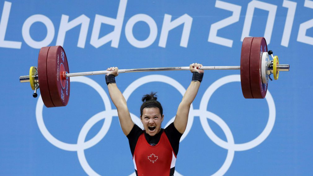 Christine Girard lors de compétition des moins de 63 kg aux Jeux olympiques de Londres