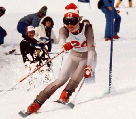 Kathy Kreiner du Canada participe au ski alpin aux Jeux olympiques d'hiver de Lake Placid de 1980. (Photo PC/AOC)