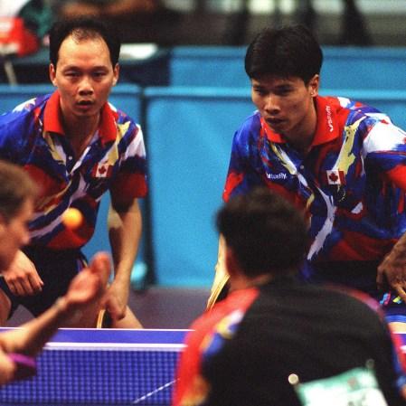 Johnny Huang (à droite) et Joe Ng aux Jeux olympiques d'Atlanta en 1996.