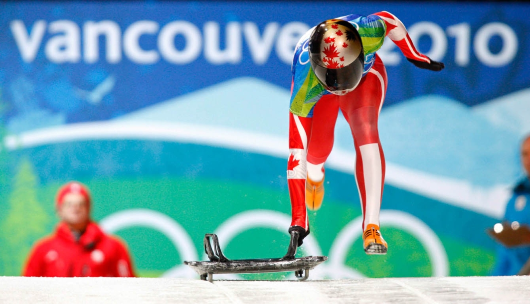 Team Canada - Canada's Michelle Kelly starts her second run the women's skeleton competition at the Whistler Sliding Centre