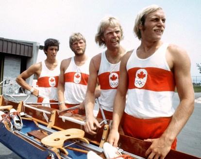 Ian Gordon, Phil Monckton, Andy Van Ruyven et Brian Dick du Canada participent au quatre d'aviron masculin aux Jeux olympiques de Montréal de 1976. (Photo PC/AOC)