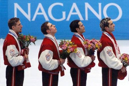 Marc Gagnon (gauche à droit), Eric Bedard, Derrick Campbell et Francois Drolet