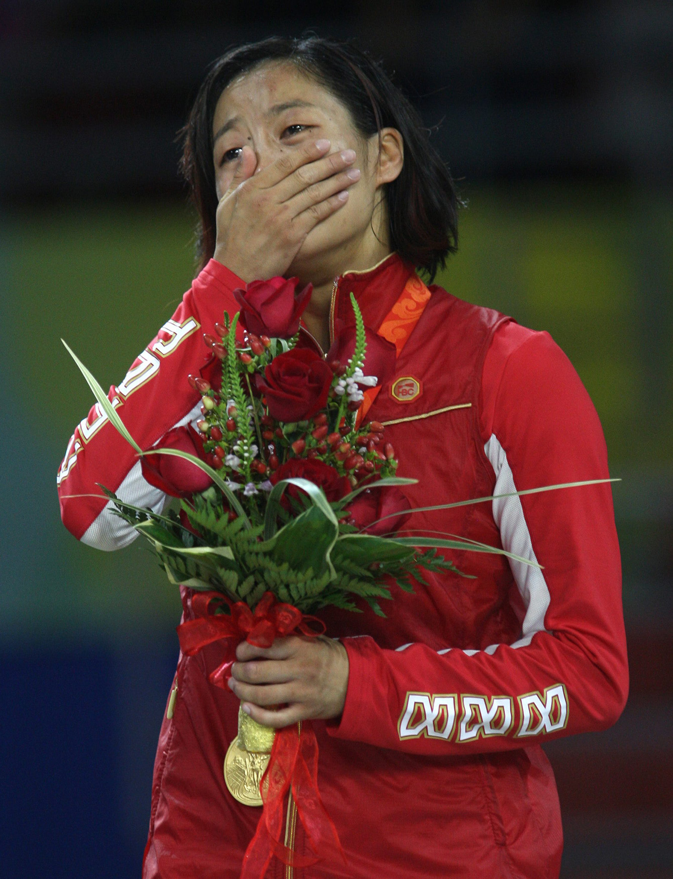 Carol Huynh émotive sur le podium