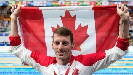 Ryan Cochrane après sa victoire au 400 m libre.