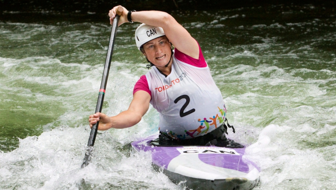 Canada's Haley Daniels runs the Minden white water course in a qualifying round on Saturday July 18.  She will paddle for gold t