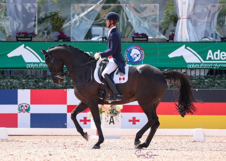 Un athlète en sports équestres sur son cheval en action
