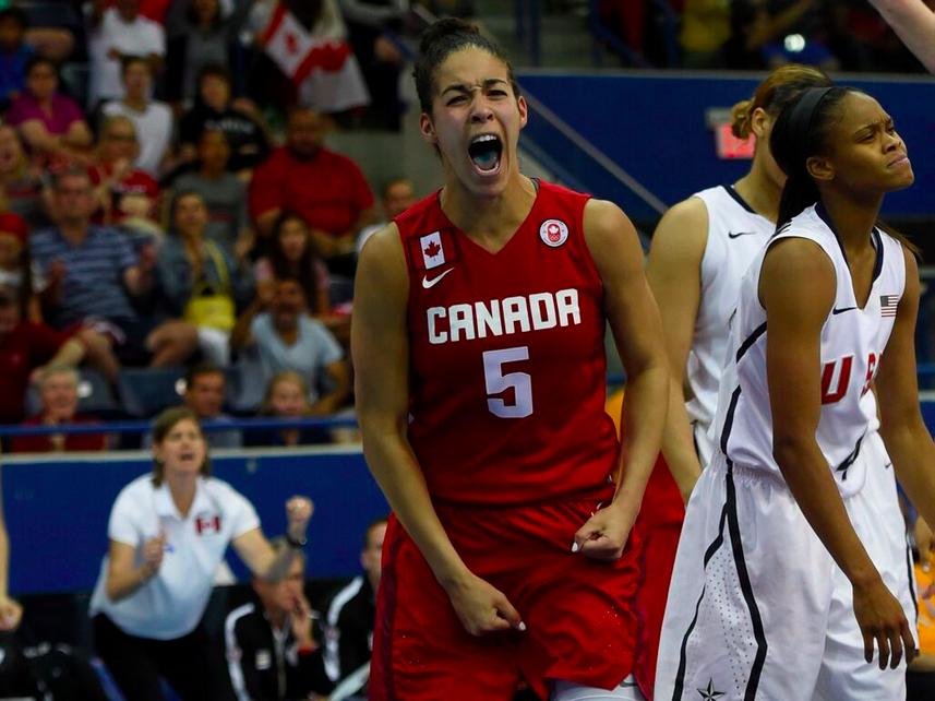 Kia Nurse screams with joy on the basketball court