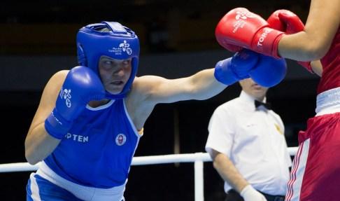 Ariane Fortin (en bleu) aux Jeux panaméricains de 2015 à Toronto.