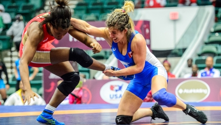 Michelle Fazzari au au tournoi panaméricain de qualification olympique, le 4 mars 2016. (Photo : Tony Rotundo/WrestlerAreWarrior)