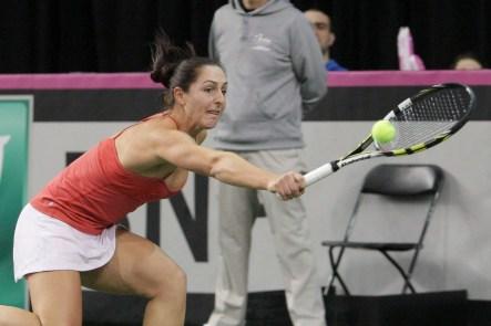 Gabriela Dabrowski à la Coupe Fed qui opposait le Canada à République tchèque, le 8 février 2015 à Québec.