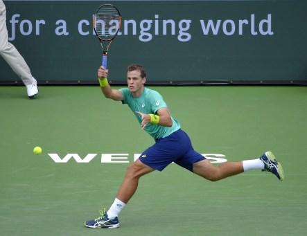 Vasek Pospisil au tournoi d'Indian Wells, le 11 mars 2016.