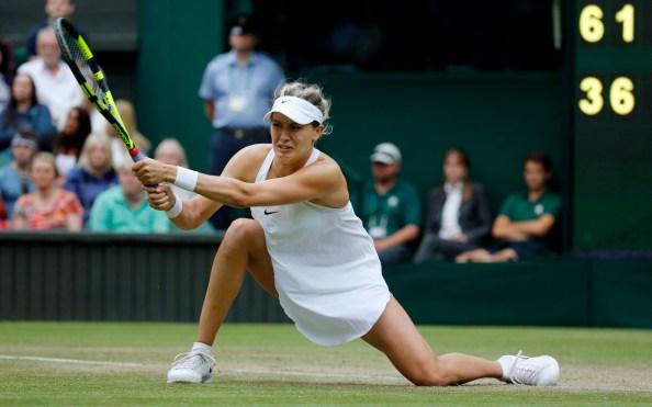 Eugenie Bouchard lors de son match de deuxième tour contre la Britannique Johanna Konta à Wimbledon, le 30 juin 2016.