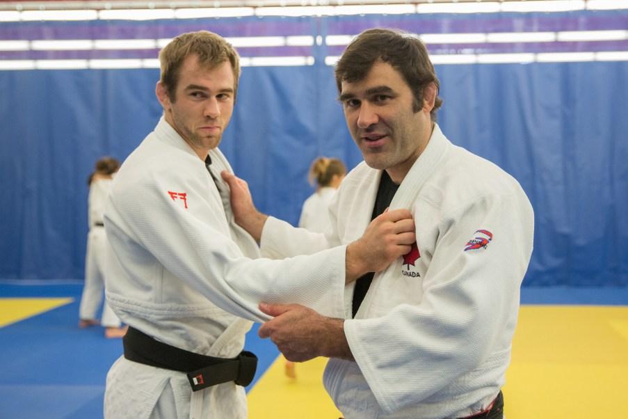 Antoine Valois-Fortier et Nicolas Gill lors d'un entrainement à l'Institut national du sport du Québec, le 28 juin 2016.