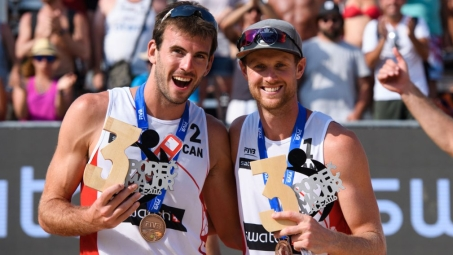 Ben saxton et Chaim Schalk au Swatch major de Prec en Croatie, le 3 juillet 2016. (Photo : FIVB).
