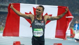 Andre De Grasse a remporté sa première médaille olympique au 100 m, dimanche soir, à Rio (COC Photo Mark Blinch).