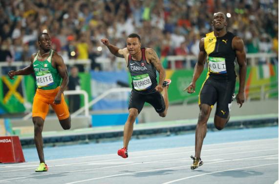 Andre De Grasse a pris le 3e rang du 100 m aux Jeux olympiques de Rio, le 14 août 2016.