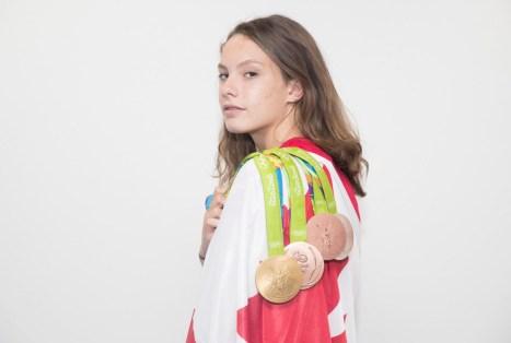 Penny Oleksiak et ses quatre médailles des Jeux olympiques de Rio. (Photo/COC Mark Blinch)