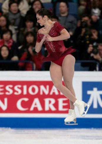 Kaetlyn Osmond en action lors des championnats du monde de patinage artistique à Helsinki, en Finlande, le 31 mars 2017. (AP Photo / Ivan Sekretarev)