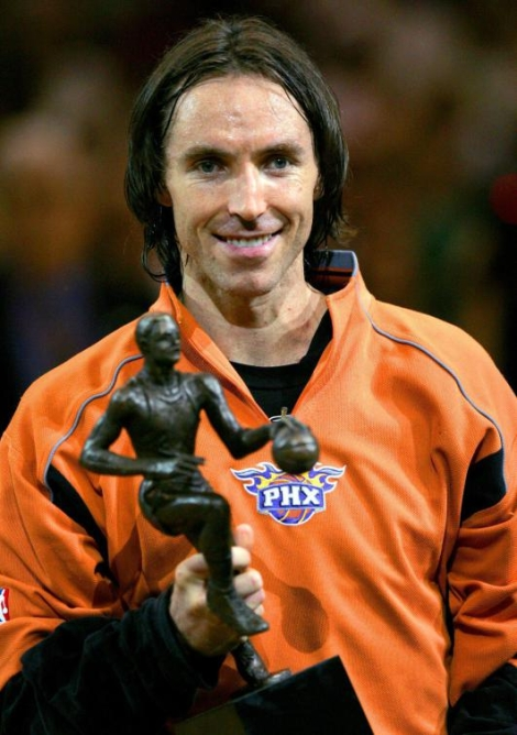 Steve Nash pose avec son trophée du joueur par excellence. (AP Photo/Matt York)