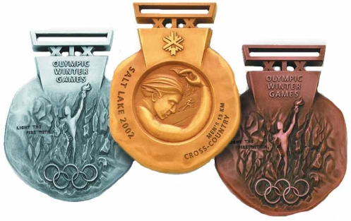 Les médailles de Salt Lake City 2002. (Photo : Pinterest)