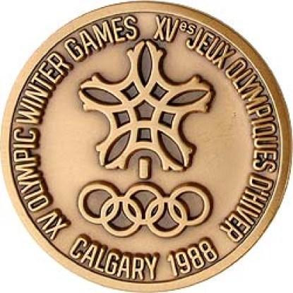 L'avant de la médaille des Jeux de Calgary 1988. (Photo : opmedals.com)