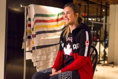 Marie-Michèle Gagnon lors du dévoilement de la collection d'Équipe Canada pour PyeongChang 2018, à Toronto, le 3 octobre 2017. (Photo : COC)
