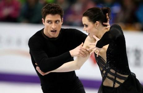Les Canadiens Tessa Virtue et Scott Moir patinent lors de la compétition de danse sur glace aux Championnats du monde de patinage artistique samedi le 16 mars 2013 à London, en Ontario. (La presse Canadienne//Dave Chidley)