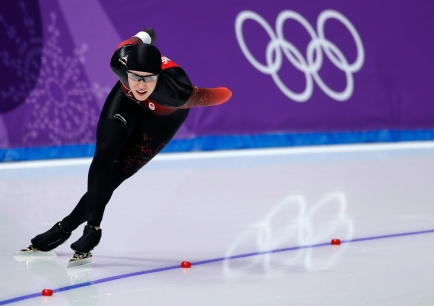 Josie Morrison of Canada competes during the women's 1,500 meters speedskating race at the Gangneung Oval at the 2018 Winter Olympics in Gangneung, South Korea, Monday, Feb. 12, 2018. (AP Photo/Petr David Josek)