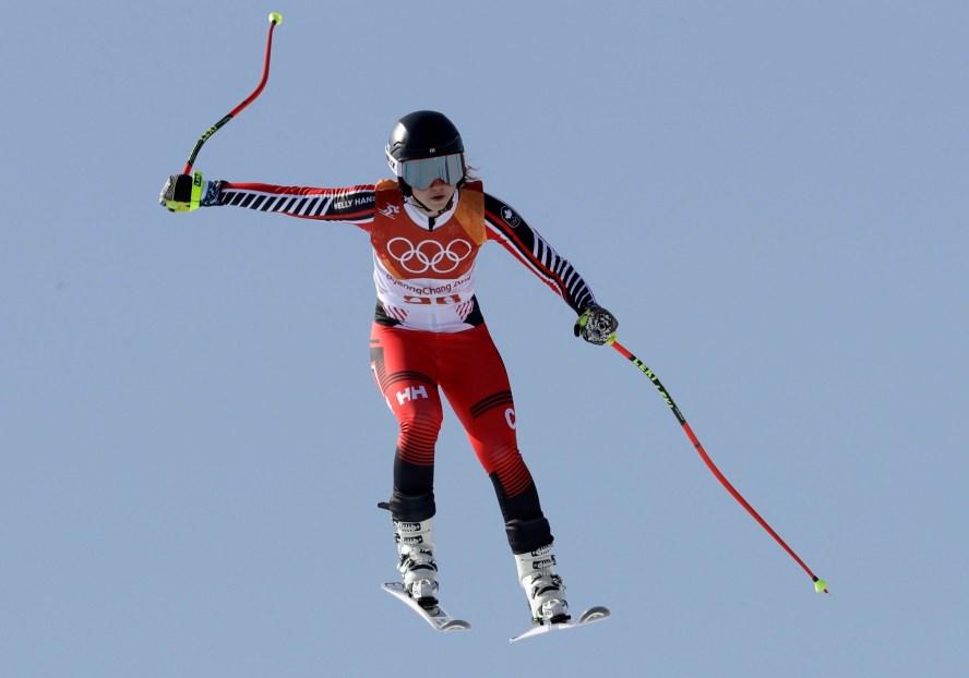 Candace Crawford au combiné alpin, le 22 février 2018. AP Photo/Luca Bruno