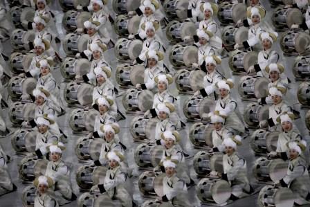 La Corée du Sud réservait tout un spectacle pour l'ouverture des Jeux de PyeongChang.(Sean Haffey/Pool Photo via AP)