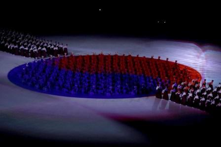 Formation du drapeau coréen, au début de la cérémonie. (Sean Haffey/Pool Photo via AP)