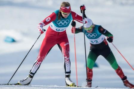 Dahria Beatty lors de l'épreuve du 10 km en ski de fond, aux Jeux olympiques de PyeongChang, le 15 février 2018. Photo/David Jackson