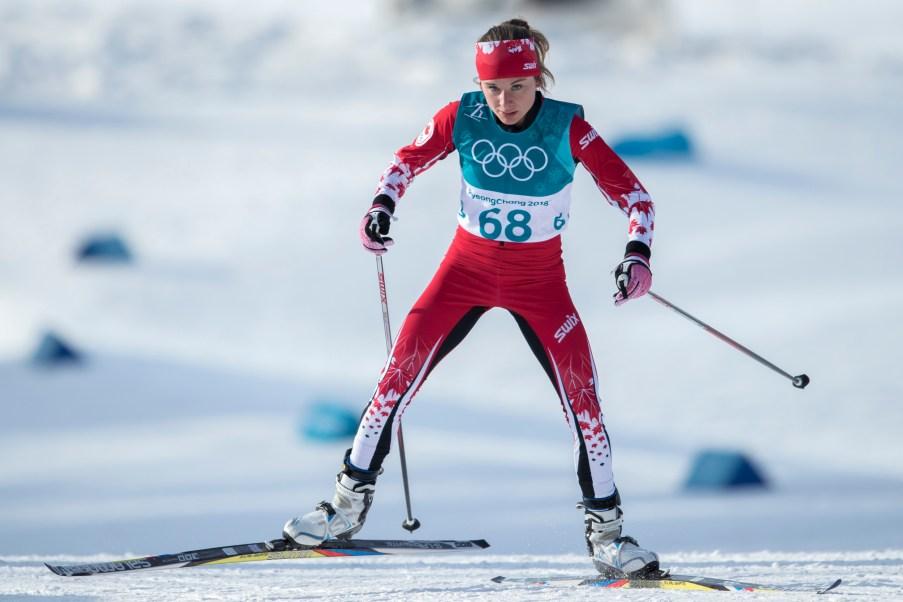 Marie-Anne Comeau lors de l'épreuve du 10 km en ski de fond, aux Jeux olympiques de PyeongChang, le 15 février 2018. Photo/David Jackson
