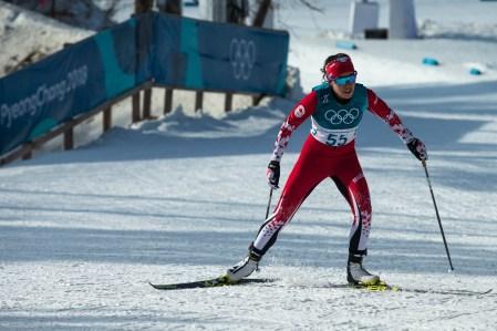Emily Nishikawa lors de l'épreuve du 10 km en ski de fond, aux Jeux olympiques de PyeongChang, le 15 février 2018. Photo/David Jackson
