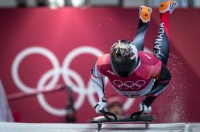 Dave Greszczyszyn lors des qualifications en skeleton aux Jeux olympiques de PyeongChang, le 15 février 2018. Photo COC/David Jackson
