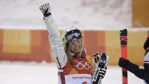 Justine Dufour-Lapointe après avoir terminé deuxième en bosses à PyeongChang 2018, le 11 février 2018. (Photo : Jason Ransom/COC)