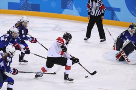 Match CAN-USA pour la médaille d'or, le 22 février 2018, aux Jeux olympiques de PyeongChang.