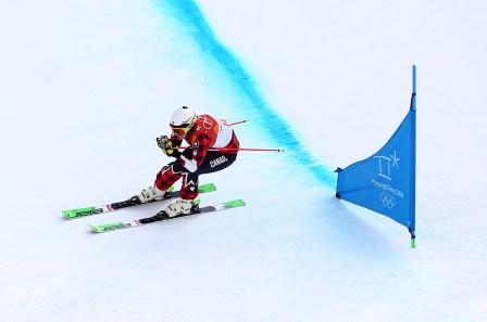 Kelsey Serwa lors des qualifications pour l'épreuve féminine de ski cross, le 22 février 2018. Photo COC/Vaughn Ridley