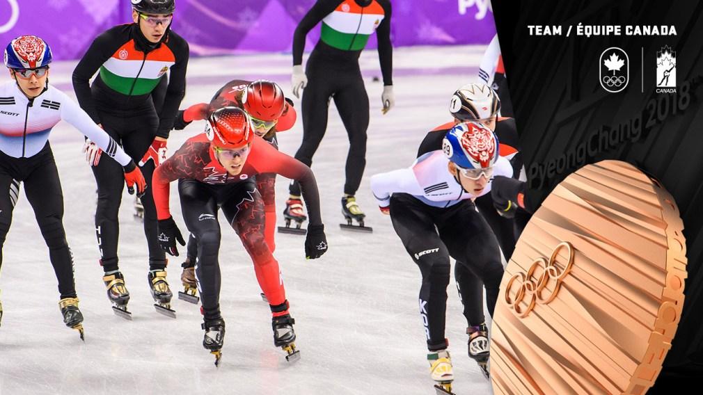 Médaille de bronze au relais en patinage de vitesse sur courte piste - PyeongChang 2018 - Équipe Canada