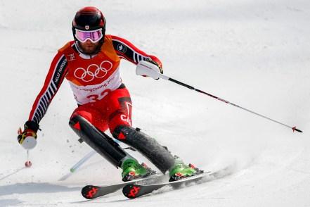 Phil Brown lors de la finale du slalom, le 22 février 2018. AP Photo/Patrick Semansky