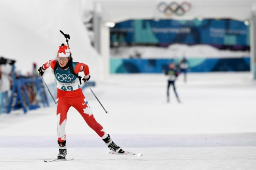 Julia Ransom participe à l'épreuve féminine du sprint 7,5km aux Jeux olympiques d'hiver de PyeongChang2018 le 10 février au Centre de biathlon d'Alpensia (Photo: Vincent Ethier/COC).