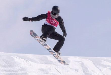 Spencer O'Brien lors de la finale de l'épreuve de snowboard big air, le 22 février 2018. LA PRESSE CANADIENNE/Paul Chiasson