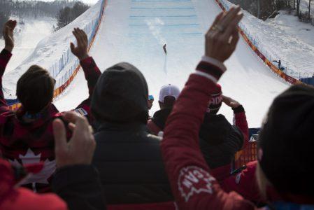 Alex Beaulieu-Marchand comptait sur de nombreux partisans lors de la finale en ski slopestyle. (Photo/David Jackson)