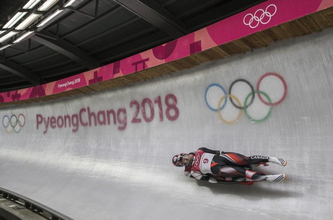 Tristan Walker et Justin Snith lors de l'épreuve de luge double, aux Jeux olympiques de PyeongChang, le 14 février 2018. Photo COC/David Jackson