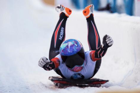 Mirela Rahneva est satisfaite de sa descente à la Coupe du monde de l'IBSF, à Calgary, le 23 février 2019. (Photo : IBSF/Twitter)