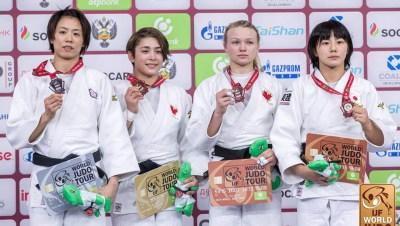 De gauche à droite, Chen-Ling Lien, Christa Deguchi, Jessica Klimkait et Haruka Funakabo lors de la cérémonie des médailles des moins de 57 kg au Grand chelem d'Ekaterinberg, en Russie, le 15 mars 2019. (Photo: IJF)