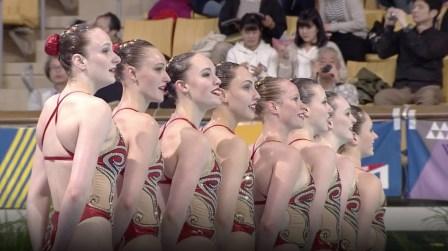 L'équipe canadienne de natation artistique lors de leur programme libre en équipe à la Série mondiale de Tokyo, au Japon, le 28 avril 2019. (Photo Natation artistique Canada/Facebook)