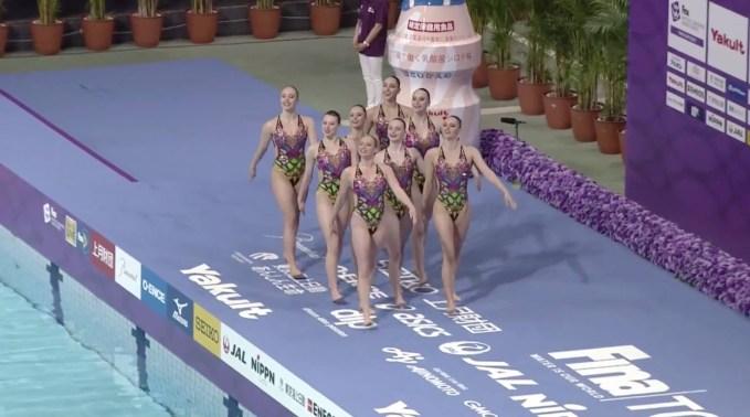 L'équipe canadienne de natation artistique lors de l'épreuve d'équipe technique à la Série mondiale de Tokyo, au Japon, le 27 avril 2019. (Photo Natation artistique Canada/Facebook)