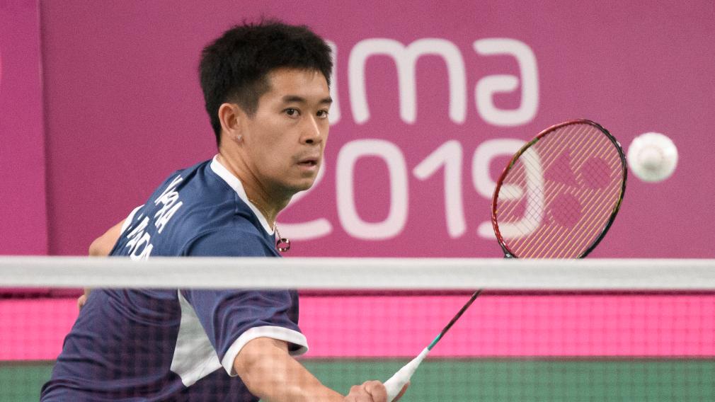 Nyl Yakura en action lors de match de badminton à Lima 2019